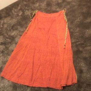 Vintage hippy linen tie skirt